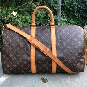 💯Auth LV Keepall Bandouliere 45 •W/STRAP & LOCK❤️